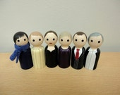 Sherlock Holmes Game Pieces - Wooden Peg Dolls
