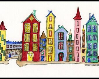 Houses illustration - City illustration - Illustration Print