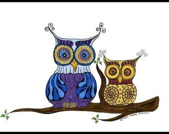 Owl illustration - Owl Art - The Owls - Illustration Print