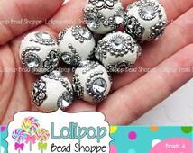20mm WHITE Indonesia Beads Handmade Rhinestone Beads Chunky Beads 4-ct Bling Beads Round Gumball Beads Clay & Silver Accents Bubblegum Beads