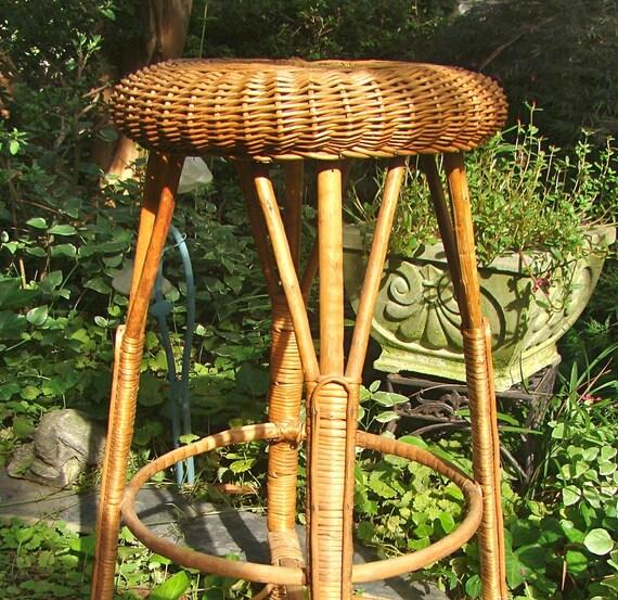 Osier vintage tabouret tabouret de comptoir bar stool - Tabouret de bar en osier ...
