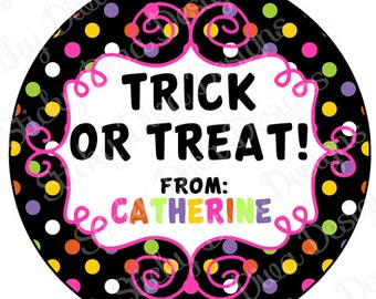 PERSONALIZED STICKERS - Cute Halloween Monogrammed Labels - Round Gloss Labels