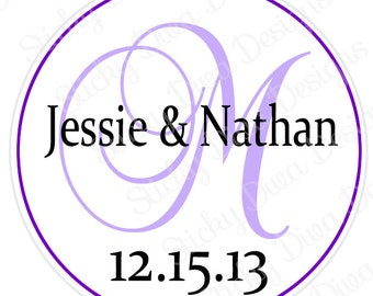 PERSONALIZED STICKERS - Custom Simple Monogrammed Labels - Round Gloss Labels