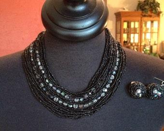 Glamorous Black Necklace Earring Set