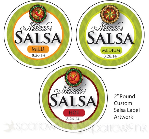 2 round customized printed salsa sticker personalized With custom salsa labels