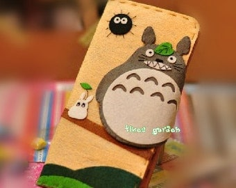 Grey Totoro  Handmade Non-Woven Long bifold Wallet Purse, White Totoro Living in the Forest Pattern,Finished Felt Fabric Animal Purse