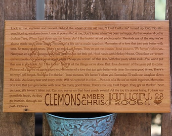 WEDDING VOWS or LYRICS on Wooden Plaque in Large