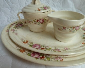 Vintage floral china set by Leigh Potters creamer /sugar large /small platter shabby vintage china cottage chic garden party rustic wedding