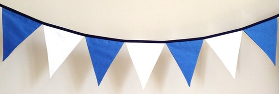 Blue and White Boys Fabric Bunting Banner Flags