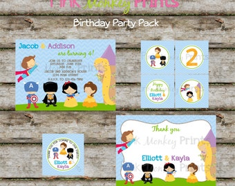 DIY - Princesses and Super heroes Birthday Party Pack- Coordinating Items Available
