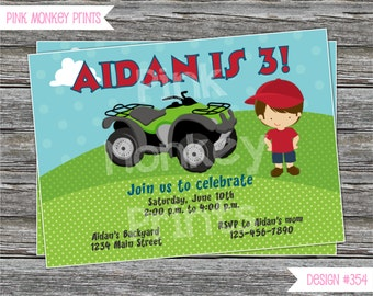 DIY - ATV Boy Birthday Party Invitation #454 - Coordinating Items Available