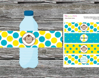 DIY - Boy Mod Monkey Water Bottle Labels- Coordinating Items Available