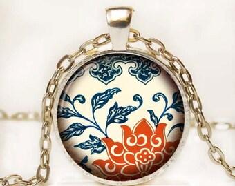 Asian Antique Print Art Pendant Floral Photo Pendant Altered Art Photo Pendant Necklace 7