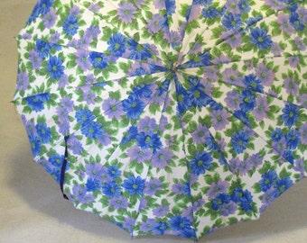 Vintage Blue Purple Green Lavender Floral Umbrella