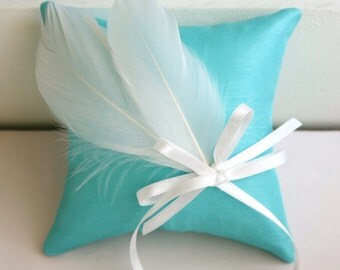 tiffany blue color feather wedding ring cushion(ring pillow)
