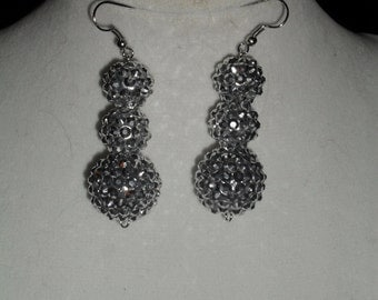 Silver disco ball earrings