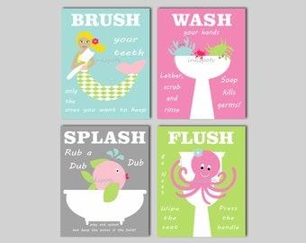 Kids Mermaid Bath Art - Bath Rules Prints - Mermaid Bath Prints - Brush Your Teeth - Wash Your Hands - Choose Colors - Kids Bathroom Prints