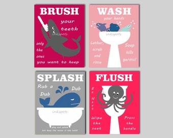 Childrens Bathroom Art Kids Bathroom Prints Nautical Kids Bathroom Rules Brush Your Teeth Wash Your Hands CHOOSE COLORS KIds Bath Print Quad