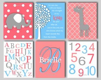 Baby Girl Nursery Art Elephant Nursery Art Giraffe Print Elephant Nursery Bedding Decor Alphabet Art Monogram Print Collection Choose Colors