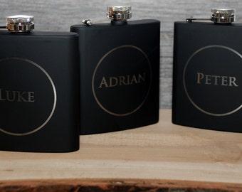 Set of 7 Groomsmen flask, Best man flask, Custom engraved 6oz flask., flask, personalized flask,