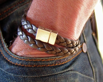 Mens bracelet braided leather wrap bracelet nappa dark brown or black stainless steel - mens gift for husband boyfriend friend mens jewelry