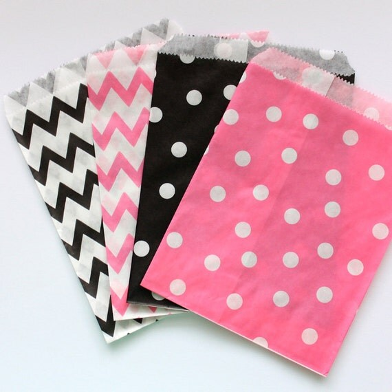 24 pink black chevron and polka dot baby shower favor bag dessert