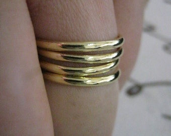 Stack ring, Set of 4, Stackable gold rings, Stacking rings, Gold rings, Brass rings, Smooth rings, Dainty ring, Knuckle ring