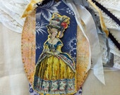 Marie Antoinette Tags,  Ornaments, Keepsake, French, Paris, Ile de la Cite, Mixed Media Tags, Francophile, NECteam - ParisPluie