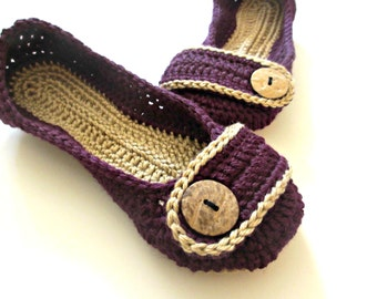 Women's Crochet Slippers - Button Tab slippers - women's sizes 5 6 7 8 9 10 - custom made - Purple and Sand