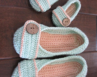 Mommy and Me Button Slippers - mint and coral womens slippers - child toddler baby kids slippers -