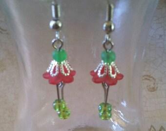 On Sale 30% off Little Red Flower Earrings