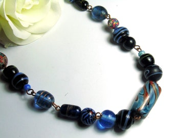 Vintage Blue Murano Art Glass Millefiori Venetian Glass Bead Necklace