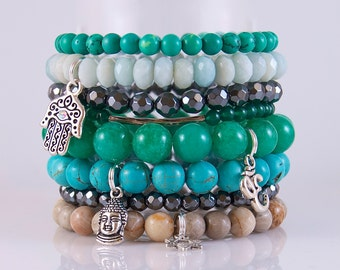 A Collection of Stackable Summer Green Charm Buddha/Hamza/Star of David Beaded Bracelets Can be Sold as a Set of 8 or Individually