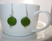 Handmade Green Wooden Bead Earrings - ScarletWolfJewellery