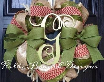 Burlap Christmas Wreath // Gold // Olive Green // Red // Chevron // Monogram