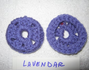 LAVENDER -Ear Pads-Cushions-Cookies   for Phone Headset, Call Center, Hand-crochetted, NEW.