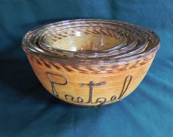 Brown & Yellow String on Glass Nesting Bowls (Set of 4)