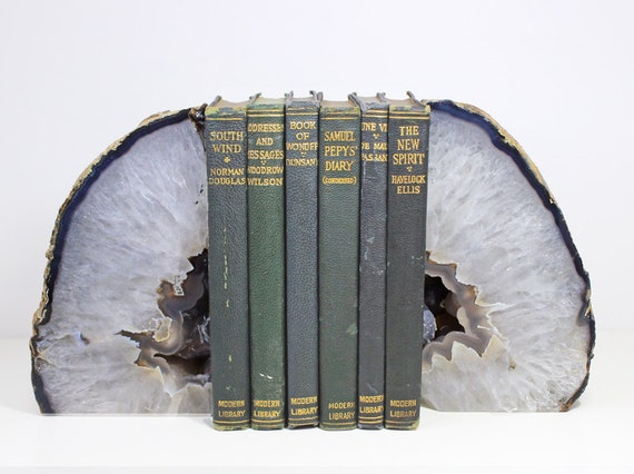 Agate Geode Bookends Home Decor Blue And White Interior Decor