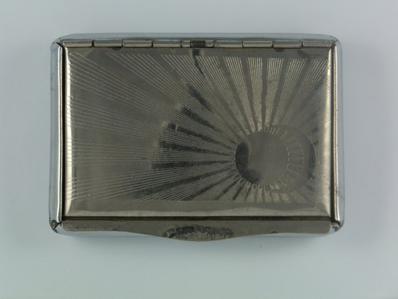 Vintage cigarette tobacco holder business card case metal for Vintage business card case