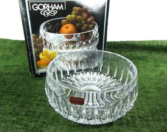 CRYSTAL BOWL,Gorham, Glass Bowl, salad bowl, desert bowl,vintage glass bowl,art glass