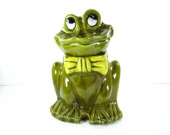Ceramic Frog Cookie,cookie Jar,green Cookie Jar,retro Kitchen Decor,frog