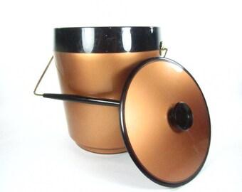 Retro Copper Colored Ice Bucket, Mid Century ice bucket, Bar Ware,