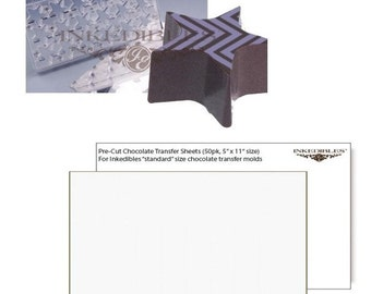 Inkedibles Standard Size (11 inch x 5 inch) Magnetic Chocolate Mold (design 530-015, plus 50 precut chocolate transfer sheets to size)