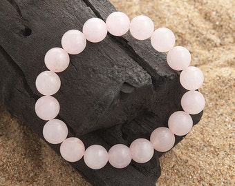 Rose quartz 10 mm beads stretch beaded bracelet genuine gemstones
