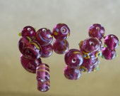 India Glass bead mix Dark Pink with yellow and blue accents