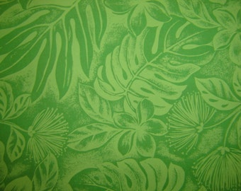 Hawaiian Fabric - Green Floral Print With Leaves on Green