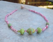 Small Pink Stone and Green Africa Paper Beads Choker on Waxed Linen Cord Toggle Clasp