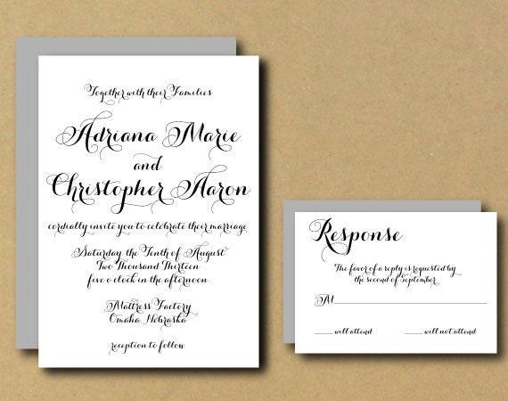 Customizable Wedding Invitation Templates: Printable Wedding Invitation Template Personalized DIY