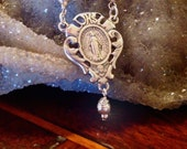 VIRGIN MARY STERLING Silver Rosary Necklace, Sterling Silver Hand Cast from Antique Holy Medal