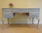 Shabby Chic Cottage Chic Louis Blue and Old White Writing Desk